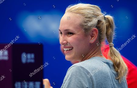 Donna Vekic of Croatia during practice at the 2019 WTA Elite Trophy tennis tournament