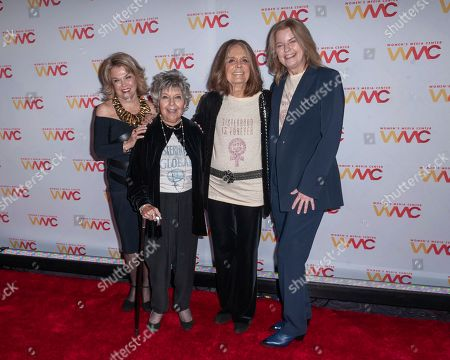 Pat Mitchell, from left, Robin Morgan, Gloria Steinem, and Julie Burton attend the 2019 Women's Media Awards, hosted by The Women's Media Center, at the Mandarin Oriental New York, in New York