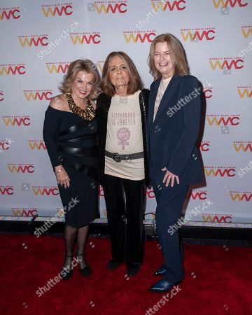 Pat Mitchell, from left, Gloria Steinem, and Julie Burton attend the 2019 Women's Media Awards, hosted by The Women's Media Center, at the Mandarin Oriental New York, in New York