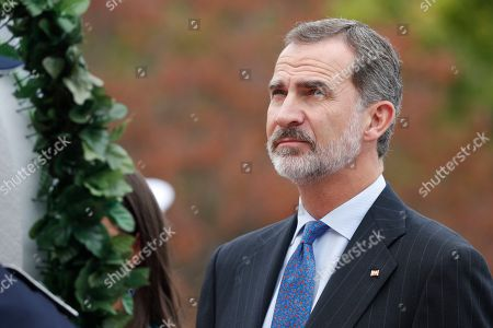 King Felipe VI of Spain and Queen Letizia (not pictured) pays tribute to the victims of the Korean War during his visit to the National Cemetery in Seoul, South Korea, 23 October 2019. King Felipe VI and Queen Letizia of Spain arrived in South Korea on a two-day visit to develop the bilateral relationship between the two nations.