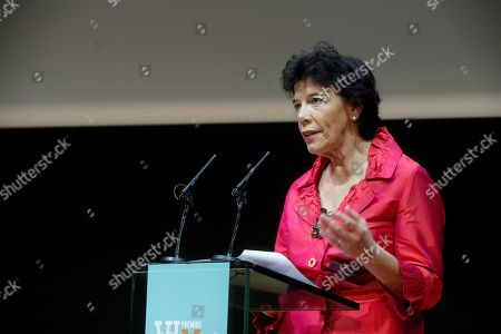 Acting Spanish Minister of Education, Isabel Celaa, delivers a speech during the 5th edition of the More Women to Follow Awards  in Madrid, Spain, late 22 October 2019 (issued 23 October 2019).