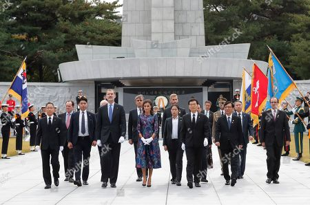 King Felipe VI, Queen Letizia. Spain's King Felipe VI, center left, and his wife Queen Letizia, center, visit the National Cemetery in Seoul, South Korea, . Felipe VI arrived on Wednesday for a two-day visit to meet with South Korean President Moon Jae-in