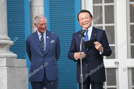 Stock Picture of Prince Charles and Deputy Prime Minister and Minister of Finance Taro Aso at The British Embassy