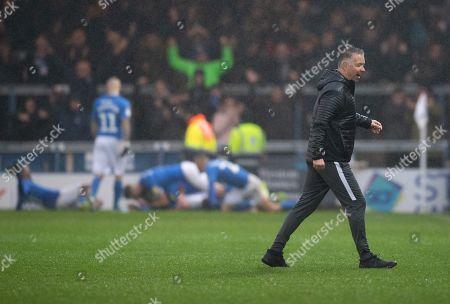 Peterborough United Manager Darren Ferguson celebrates the goal of Mohamed Eisa of Peterborough United, 2-2