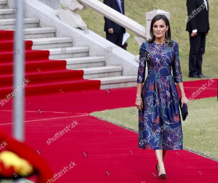 Queen Letizia of Spain attends a welcome ceremony held in Seoul, South Korea, 23 October 2019. King Felipe VI and Queen Letizia of Spain are on an official two-day visit to South Korea for the first time. They aim to develop the bilateral relationship between the two nations.