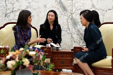 Queen Letizia of Spain (L) meets South Korean First Lady Kim Jung-sook (R) in Seoul, South Korea, 23 October 2019. King Felipe VI and Queen Letizia of Spain are on an official two-day visit to South Korea for the first time. They aim to develop the bilateral relationship between the two nations.