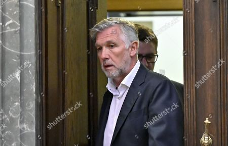 Defendant Walter Meischberger attends a trial against former Finance Minister Karl-Heinz Grasser and other defendants at the Vienna District Criminal Court, in Vienna, Austria, 23 October 2019. The trial of Karl-Heinz Grasser and other defendants are facing charges of alleged fraud and corruption in connection with the privatization of the federal housing association 'Buwog'.