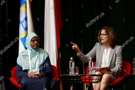 Dean of Faculty of Engineering in Monash University in Australia Elizabeth Croft (R) and Dean of College of Petroleum Engineering and Technology of Sudan university Tagwa Ahmed Musa (L) take part in the panel 'Women in Engineering and Stem' at the Global Engineering Dean's Council held in Santiago de Chile, 22 October 2019 (issued 23 October 2019). The Global Engineering Deans Council?s vision is to enhance the capabilities of engineering deans to transform schools in support of societies in a global economy.