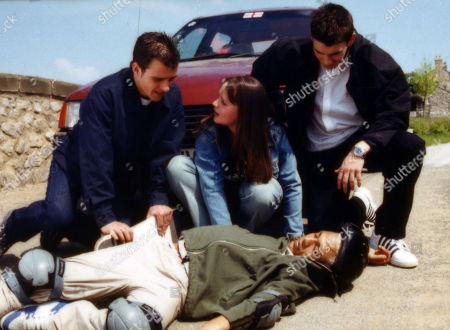 Ep 2951 Tuesday 3rd July 2001 The Reynolds accidentally knock down Danny. With Ben McCarthy, as played by Ciaran Griffiths ; Danny Daggert, as played by Cleveland Campbell ; Marc Reynolds, as played by Anthony Lewis ; Ollie Reynolds, as played by Vicky Binns.