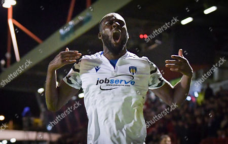 Frank Nouble of Colchester United  reacts