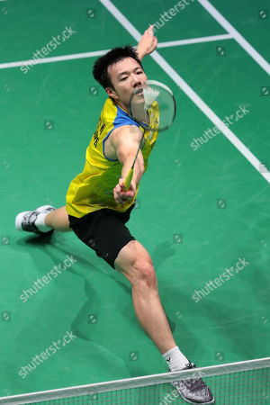 Wang Tzu Wei of Taiwan in action during his Men's first round match against Kento Momota (unseen) of Japan at the Yonex Badminton French Open tournament in Paris, France, 23 October 2019.
