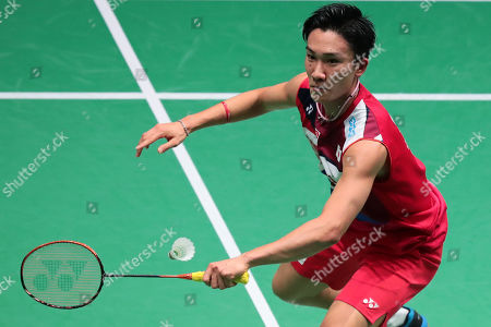 Kento Momota of Japan in action during his Men's first round match against Wang Tzu Wei (unseen) of Taiwan at the Yonex Badminton French Open tournament in Paris, France, 23 October 2019.