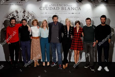 Daniel Calparsoro (C) poses with the cast (L to R) Ruben Ochandiano, Manolo Solo, producer Mercedes Gamero, writer Eva Garcia, Belen Rueda, Aura Garrido, Alex Brendemuehl and Javier Rey during the presentation of the film 'El Silencio de la Ciudad Blanca' (lit. The silence of the white city) in Madrid, Spain, 23 October 2019.