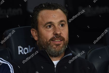 Stock Photo of Real Valladolid head coach Sergio Gonzalez on the bench before the kick off