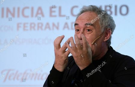 Spanish chef Ferran Adria delivers a speech on his view as a businessman and his management model during a conference on innovation and digital transformation in Logrono, northern Spain, 23 October 2019.