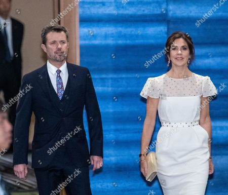 Crown Prince Frederik and Crown Princess Mary of Denmark arrive at the cocktail party before a banquet for newly enthroned Emperor Naruhito, hosted by Japan's Prime Minister and his wife, at a hotel in Tokyo, Japan, 23 October 2019.
