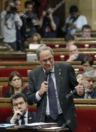 Catalan regional President Quim Torra delivers a speech during question time at the regional Parliament in Barcelona, Spain, 23 October 2019. It is the first question time at the regional Parliament after a week of clashes between police and protesters against the Supreme's Court sentence to Catalan regional leaders.