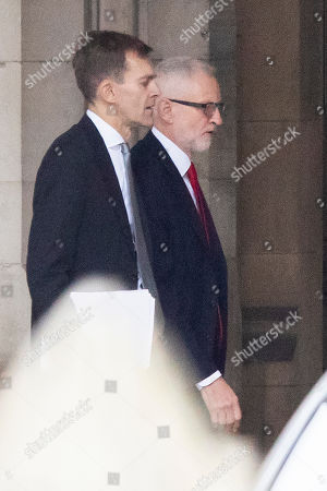 Labour Leader Jeremy Corbyn (r) and Seumas Milne (l) walk in Parliament. Later today Jeremy Corbyn will take part in PMQs.