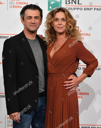 Vinicio Marchioni and Italian actress Milena Mancini pose during a photocall for 'Il terremoto di Vanja - Looking for Cechov' at the 14th annual Rome Film Festival, in Rome, Italy, 23 October 2019. The film festival runs from 17 to 27 October.