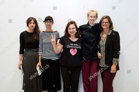 US writer winner of the 2019 Princess of Asturias Literature Award, Siri Hustvedt (2R), poses with (L to R) Spanish writers Isabel Valdes and Edurne Portela, feminist activist Ana Bella Estevez (L) and director of Telefonica Foundation, Carmen Morenes, after a round table on feminism held at Telefonica Foundation in Madrid, Spain, 23 October 2019.