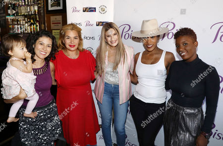 Stock Image of IMAGE DISTRIBUTED FOR POISE® - Denise Albert of The Moms, center, and others gather for a brunch event with The Moms celebrating Melissa Joan Hart's new comedic Lifetime movie release, in Los Angeles. Whether they're on-the-go or laughing during movie night with girlfriends, Poise® Brand helps the 1 in 3 women experiencing bladder leaks worry less and stay amazing