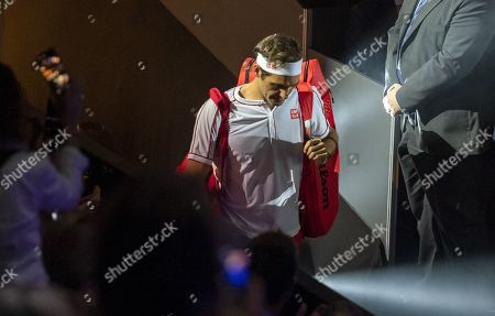 Switzerland's Roger Federer arrives for his second round match against Moldova's Radu Albot at the Swiss Indoors tennis tournament at the St. Jakobshalle in Basel, Switzerland, on Wednesday, October 23, 2019.