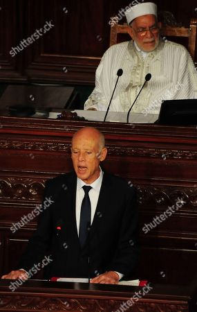 Newly elected Tunisian President Kais Saied speaks during his swearing in ceremony, in Tunis, Wednesday Oct.23, 2019. Tunisians elected former law professor Kais Saied as president earlier this month to replace President Beji Caid Essebsi, who died in July