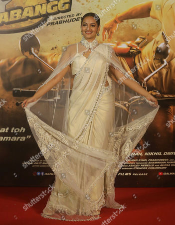 """Stock Picture of Bollywood actress Sonakshi Sinha attends the trailer launch of her upcoming film """"Dabangg 3"""", or Fearless 3, in Mumbai, India, . Dabangg 3, a story of a fearless police officer, is scheduled for release on Dec. 20"""