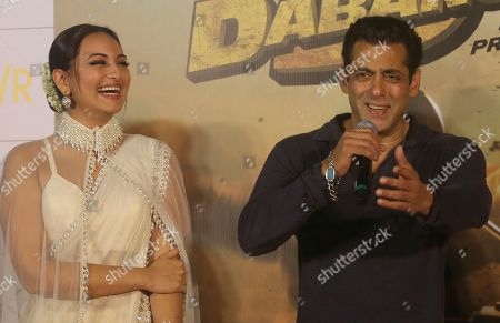"""Stock Image of Salman Khan, Sonakshi Sinha. Bollywood actor Salman Khan and Sonakshi Sinha attend the trailer launch of their upcoming film """"Dabangg 3"""", or Fearless 3, in Mumbai, India, . Dabangg 3, a story of a fearless police officer, is scheduled for release on Dec. 20"""