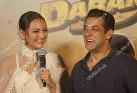 """Stock Photo of Bollywood actor Salman Khan, right, and Sonakshi Sinha attend the trailer launch of their upcoming film """"Dabangg 3"""", or Fearless 3, in Mumbai, India, . Dabangg 3, a story of a fearless police officer, is scheduled for release on Dec. 20"""