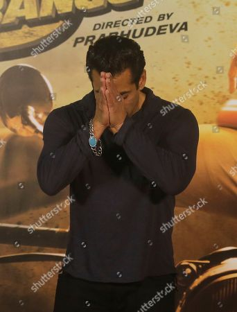 """Bollywood actor Salman Khan greets the media during the trailer launch of his upcoming film """"Dabangg 3"""", or Fearless 3, in Mumbai, India, . Dabangg 3, a story of a fearless police officer, is scheduled for release on Dec. 20"""