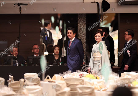The Prime Minister of Japan Shinzo Abe (C-L) and his spouse Akie Abe (C-R) check the preparation situation at the banquet room before the banquet hosted by the Prime Minister of Japan Shinzo Abe and his spouse in Tokyo,Japan, 23 October 2019.