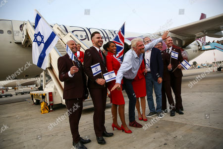 Stock Photo of Richard Branson arrives to Ben Gurion airport to inaugurate the start of Virgin Atlantic airline in Israel, in Tel Aviv, Israel