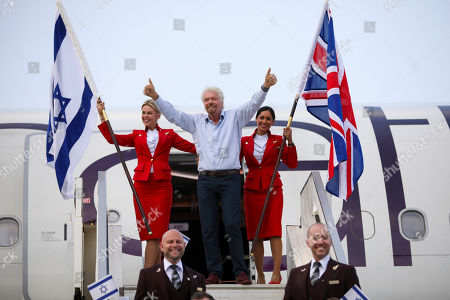 Stock Picture of Richard Branson waves as he arrives to Ben Gurion airport to inaugurate the start of Virgin Atlantic airline in Israel, in Tel Aviv, Israel