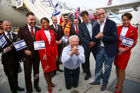 Richard Branson arrives to Ben Gurion airport to inaugurate the start of Virgin Atlantic airline in Israel, in Tel Aviv, Israel