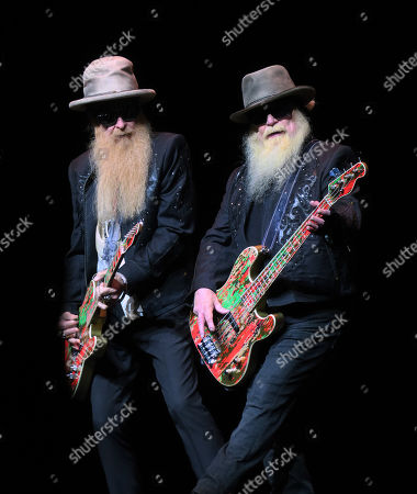 Billy Gibbons and Dusty Hill of ZZ Top perform live on stage at Maxwell C. King Center for the Performing Arts