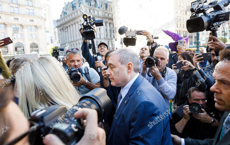 Businessman Lev Parnas (C), an associate of US President Donald Trump's personal lawyer, Rudy Giuliani, arrives for an arraignment hearing at US Federal Courthouse in New York, New York, USA, 23 October 2019. Parnas, and another man, Igor Fruman, were arrested on 10 October for alleged campaign finance violations.