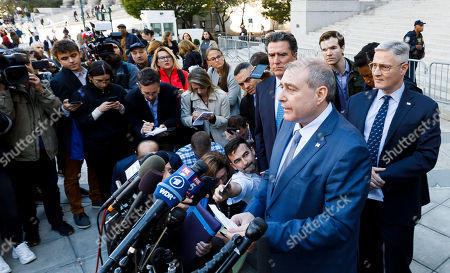 Businessman Lev Parnas (C), an associate of US President Donald Trump's personal lawyer, Rudy Giuliani, reads a statement following an arraignment hearing at an US Federal Courthouse in New York, New York, USA, 23 October 2019. Parnas, and another man, Igor Fruman, were arrested on 10 October for alleged campaign finance violations.