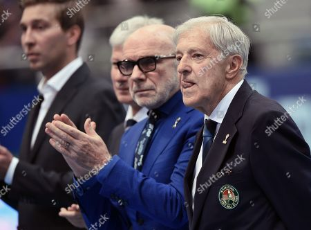 The ceremony of giving the personalized rings of the International Tennis Hall of Fame members Marat Safin and Evgeny Kafelnikov. Czech tennis player and three-time Grand Slam winner Jan Kodes (right) during the ceremony.