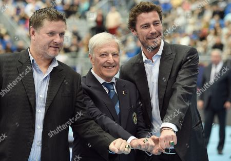 The ceremony of giving the personalized rings of the International Tennis Hall of Fame members Marat Safin and Evgeny Kafelnikov. From left: Vice President of the Russian Tennis Federation Yevgeny Kafelnikov, Czech tennis player and three-time Grand Slam winner Jan Kodes and Russian tennis player Marat Safin during the ceremony.