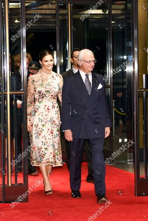 King Carl Gustaf and Crown Princess Victoria of Sweden during a Reception at The Ambassador's Residence in Tokyo, Japan