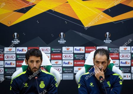Espanyol's head coach Pablo Machin (R) and Espanyol's player Esteban Granero (L) during a press conference in Razgrad, Bulgaria, 23 October 2019. PFC Ludogorets will face RCD Espanyol in their UEFA Europa League group stage H soccer match on 24 October 2019.