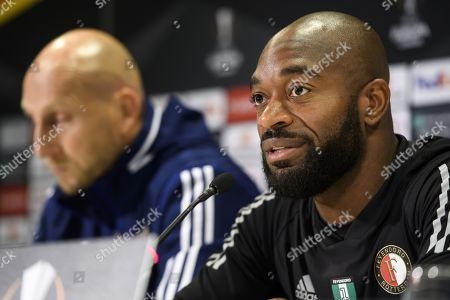 Feyenoord's Goalkeeper Kenneth Vermeer (R) and Feyenoord's head coach Jaap Stam attend a press conference in Bern, Switzerland, 23 October 2019. BSC Young Boys Bern with face Feyernoord Rotterdam in their UEFA Europa League group G soccer match on 24 October 2019.
