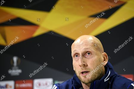 Feyenoord's head coach Jaap Stam attends a press conference in Bern, Switzerland, 23 October 2019. BSC Young Boys Bern with face Feyernoord Rotterdam in their UEFA Europa League group G soccer match on 24 October 2019.