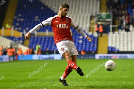 Fleetwood Town forward Ched Evans (9) gets a cross away during the EFL Sky Bet League 1 match between Coventry City and Fleetwood Town at the Trillion Trophy Stadium, Birmingham