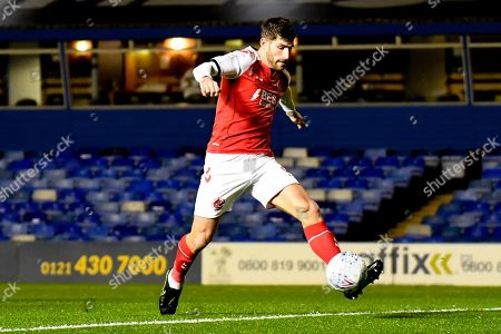 Fleetwood Town forward Ched Evans (9) takes a shot at goal during the EFL Sky Bet League 1 match between Coventry City and Fleetwood Town at the Trillion Trophy Stadium, Birmingham