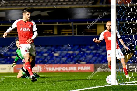 Fleetwood Town forward Ched Evans (9) takes a shot at goal and hits the post during the EFL Sky Bet League 1 match between Coventry City and Fleetwood Town at the Trillion Trophy Stadium, Birmingham