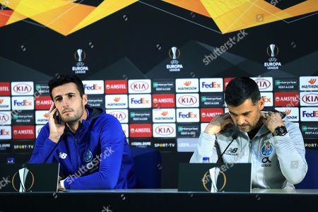 FC Porto head-coach Sergio Conceicao (R) and FC Porto's player Marcano attend a press conference at Dragao Stadium in Porto, Portugal, 23 October 2019. FC Porto will face Glasgow Rangers in their UEFA Europa League group G soccer match on 24 October 2019.