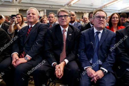 Rick Perry, David Bernhardt, David Wheeler. Secretary of the Interior David Bernhardt, left, Energy Secretary Rick Perry, center, and EPA administrator David Wheeler listen as President Donald Trump speaks during the 9th annual Shale Insight Conference at the David L. Lawrence Convention Center, in Pittsburgh