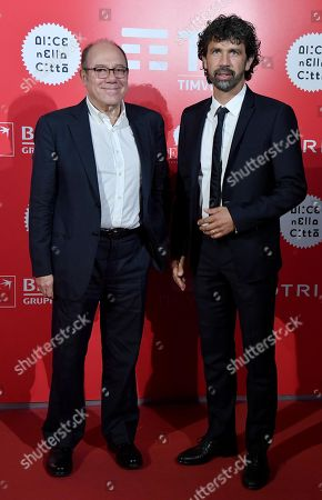 Stock Picture of Carlo Verdone (L) and former Italian soccer player Damiano Tommasi (R) arrive for the screening of 'El Numero Nueve' at the 14th annual Rome Film Festival, in Rome, Italy, 23 October 2019. The movie is presented in the 'Alice nella citta' section at the festival running from 17 to 27 October 2019.